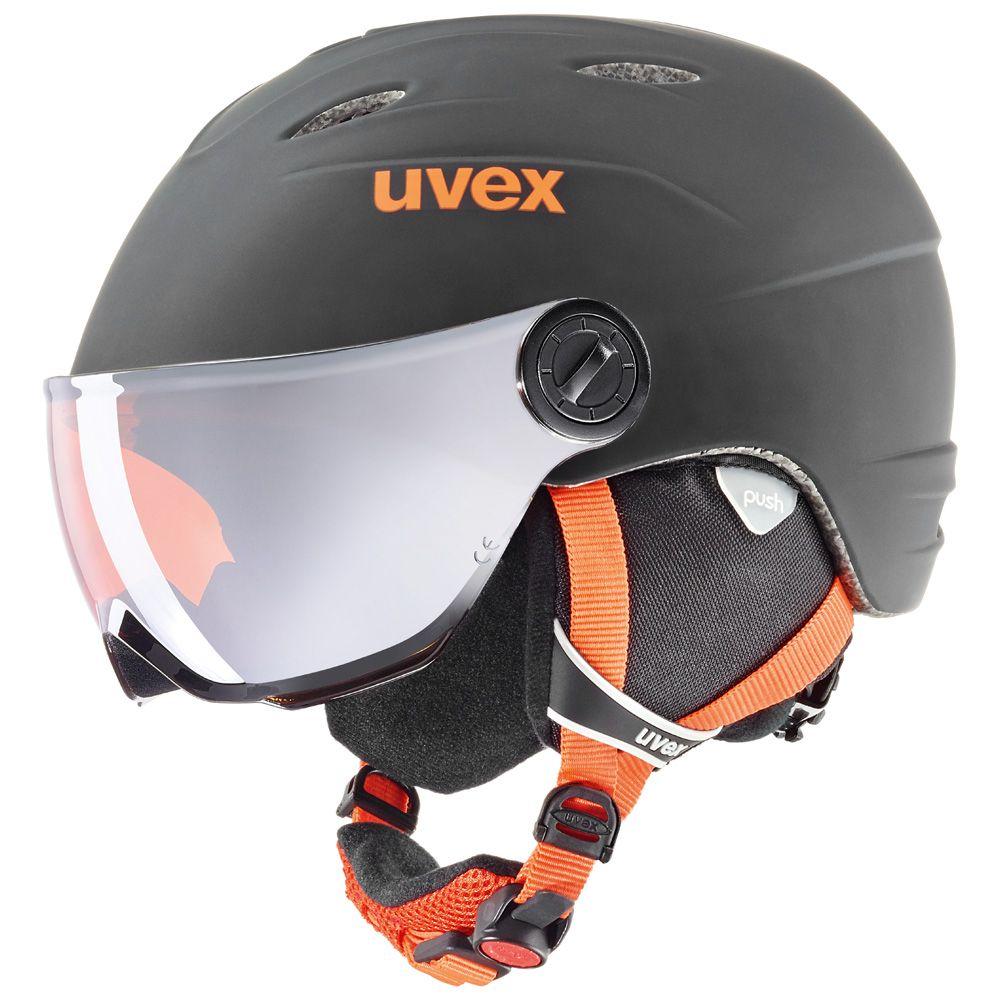 UVEX Junior Visor Pro Ski Helmet, Black/Orange Matte