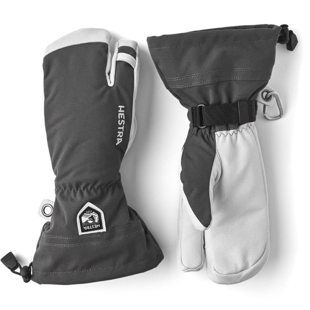 Hestra Army Heli 3 Finger Adult Ski Glove, Grey