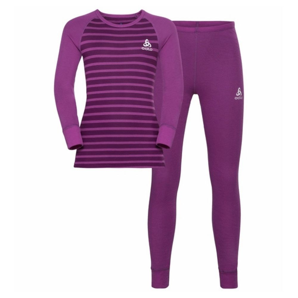 Odlo Active Warm Eco Kids Base Layer Set - Hyacinth VioletCharisma Stripes