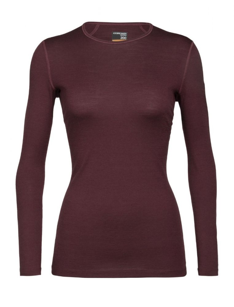 Icebreaker Womens Bodyfit 200 Oasis LS Crewe Thermal Top - Redwood