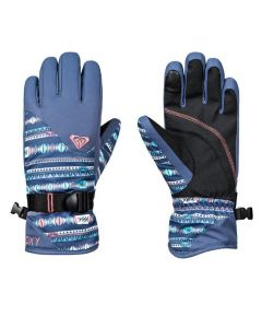 Roxy Jetty Girls Ski Gloves Indie Stripe - Crown Blue - save 40%