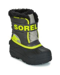 Sorel Snow Commander Kids Winter Boots, Dark Grey, Warning Yellow - save 20%