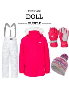 Trespass Doll Ski Jacket Hot Pink Skiing Set