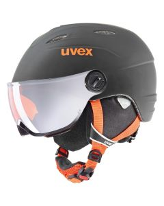 UVEX Junior Visor Pro Ski Helmet, Black/Orange Matte