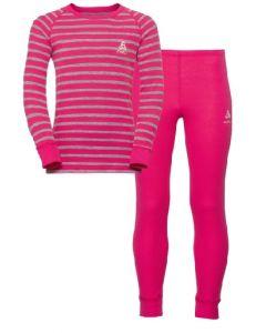 Odlo Kids Thermal Set Warm Originals Beetroot Purple - Grey Melange Stripe - save 20%