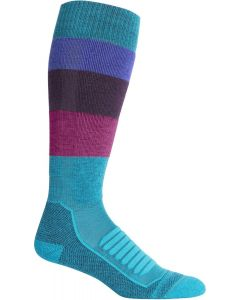 Icebreaker Womens Ski+ Medium OTC Ski Socks - Wide Stripe / Arctic Teal