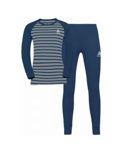 Odlo Active Warm Eco Kids Base Layer Set - Estate BlueGrey Melange Stripes159239-70837