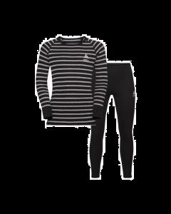 Odlo Kids Thermal Set Warm Originals Black - Grey Melange Stripe - save 20%