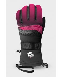 Racer Performance Goose Down Kids Ski Gloves  - Black/Pink