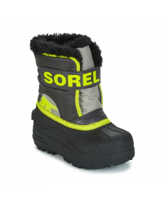 Sorel Snow Commander Kids Winter Boots, Dark Grey, Warning Yellow - save 25%