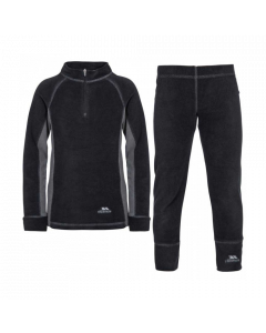 Trespass Bubbles Kids Microfleece Base Layer Set, Black