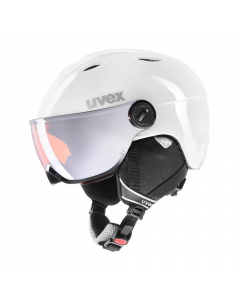 UVEX Junior Visor Pro Ski Helmet, White/Grey